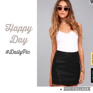 Mango Black Genuine leather mini skirt S/M